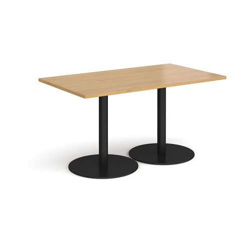 Monza rectangular dining table with flat round black bases 1400mm x 800mm - oak