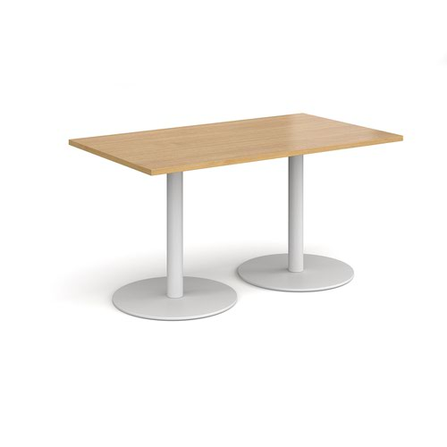 Monza rectangular dining table with flat round white bases 1400mm x 800mm - oak