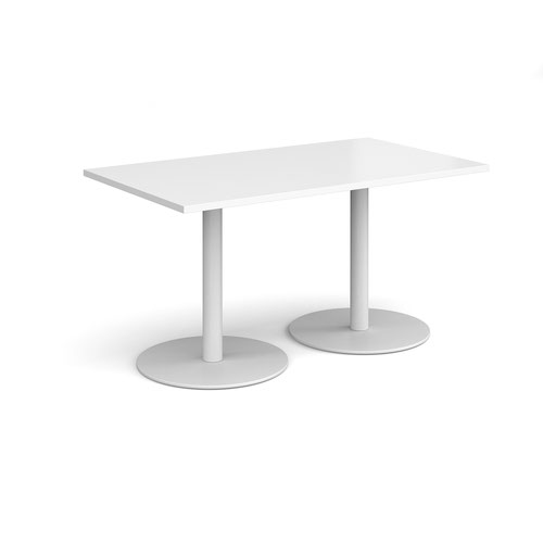 Monza rectangular dining table with flat round white bases 1400mm x 800mm - white