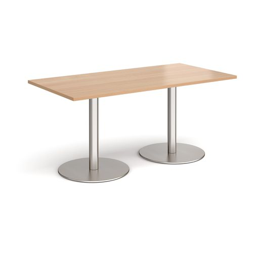 Monza rectangular dining table with flat round brushed steel bases 1600mm x 800mm - beech