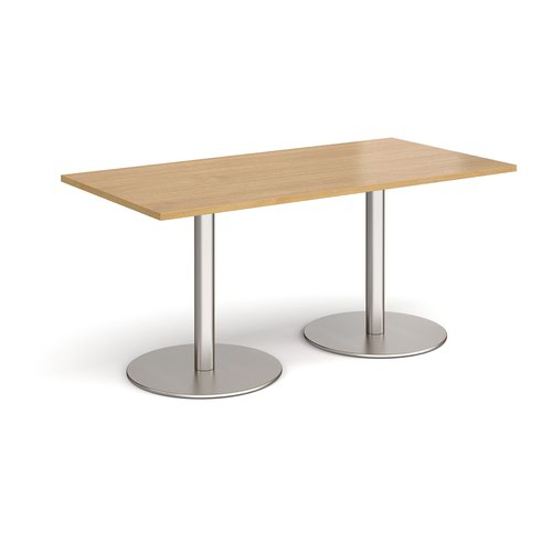Monza rectangular dining table with flat round brushed steel bases 1600mm x 800mm - oak