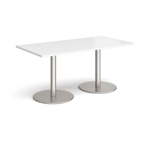 Monza rectangular dining table with flat round brushed steel bases 1600mm x 800mm - white