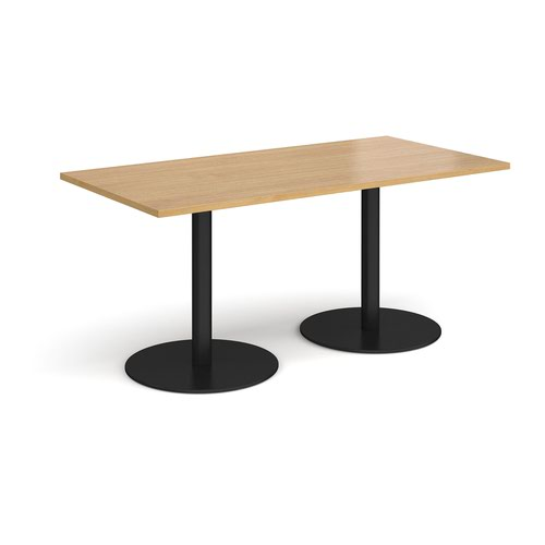 Monza rectangular dining table with flat round black bases 1600mm x 800mm - oak