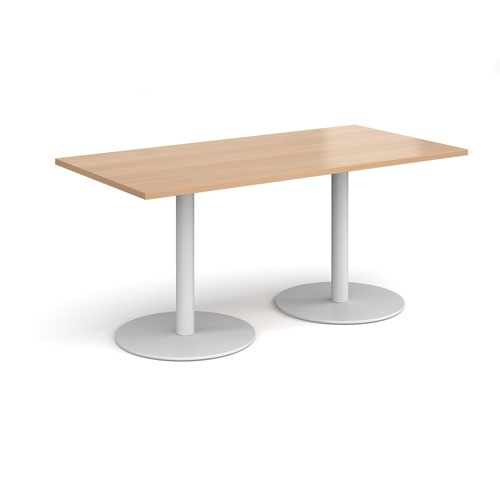Monza rectangular dining table with flat round white bases 1600mm x 800mm - beech