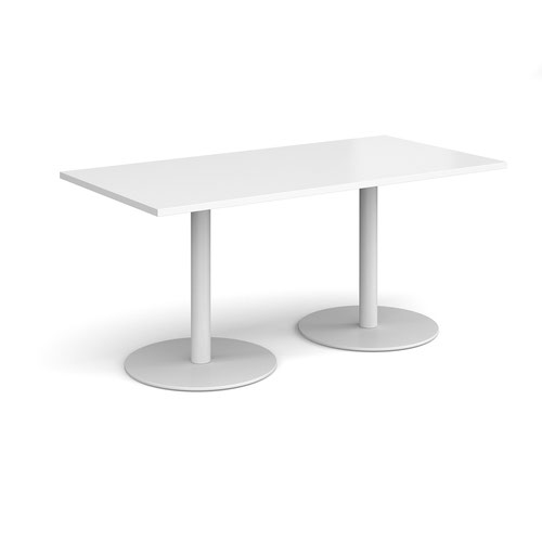 Monza rectangular dining table with flat round white bases 1600mm x 800mm - white