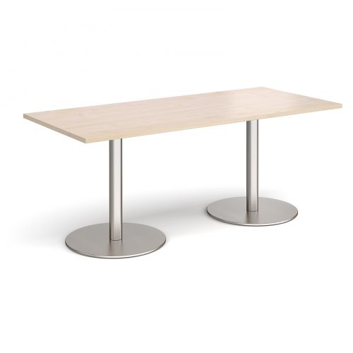 Monza rectangular dining table with flat round brushed steel bases 1800mm x 800mm - maple