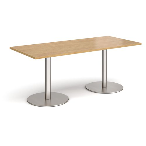 Monza rectangular dining table with flat round brushed steel bases 1800mm x 800mm - oak