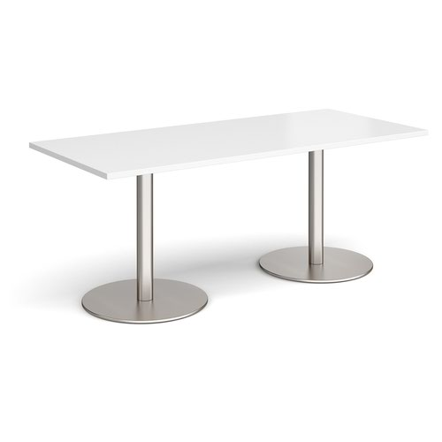 Monza rectangular dining table with flat round brushed steel bases 1800mm x 800mm - white
