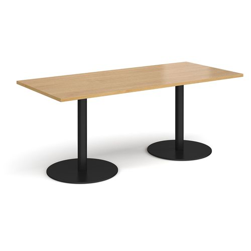 Monza rectangular dining table with flat round black bases 1800mm x 800mm - oak
