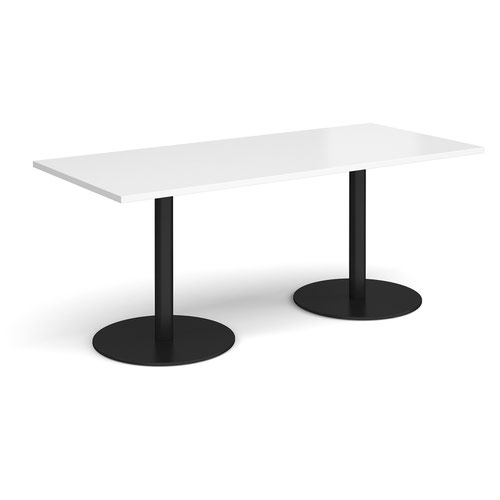 Monza rectangular dining table with flat round black bases 1800mm x 800mm - white