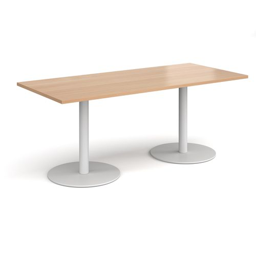 Monza rectangular dining table with flat round white bases 1800mm x 800mm - beech