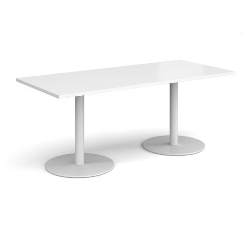 Monza rectangular dining table with flat round white bases 1800mm x 800mm - white