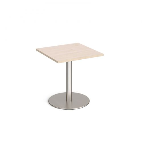 Monza square dining table with flat round brushed steel base 700mm - maple