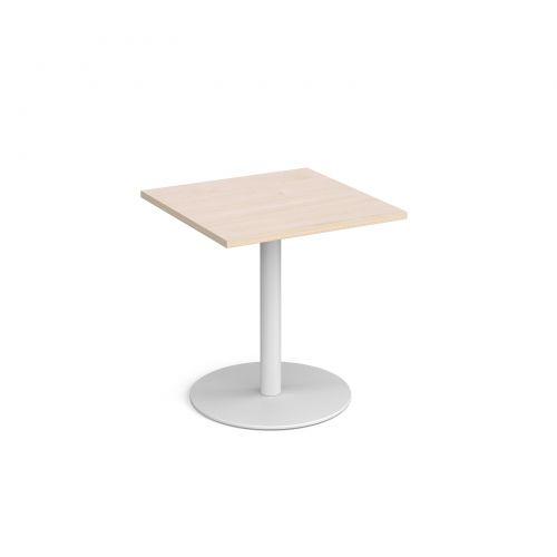 Monza square dining table with flat round white base 700mm - maple