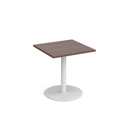 Outstanding Monza Square Dining Table With Flat Round White Base 700Mm Interior Design Ideas Clesiryabchikinfo