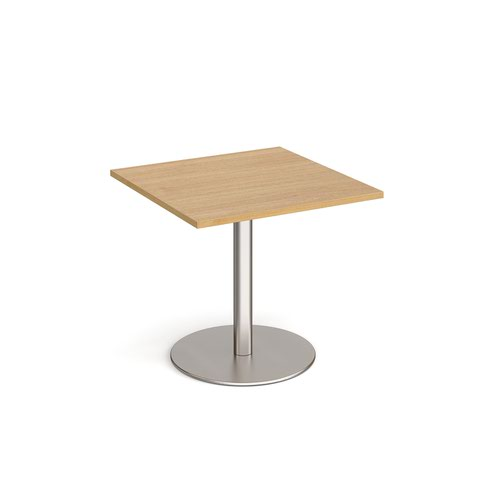 Monza square dining table with flat round brushed steel base 800mm - oak