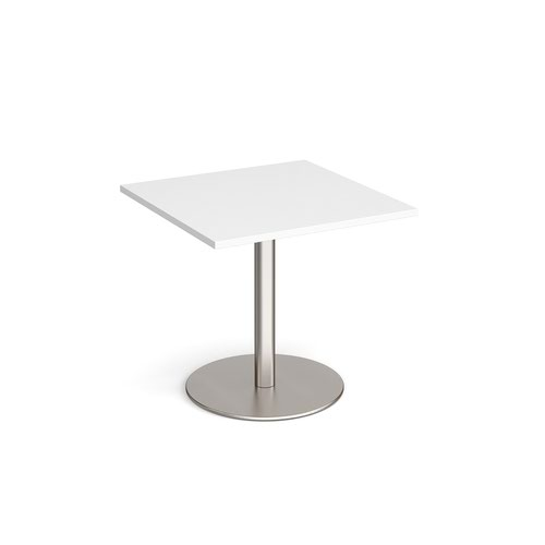 Monza square dining table with flat round base