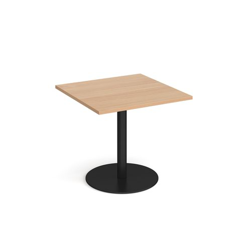 Monza square dining table with flat round black base 800mm - beech