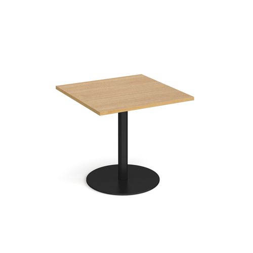 Monza square dining table with flat round black base 800mm - oak