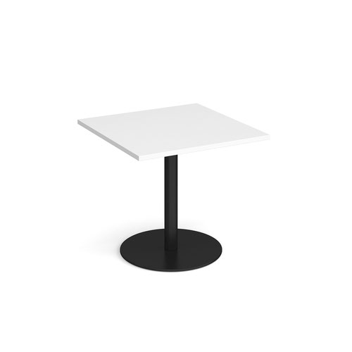 Monza square dining table with flat round black base 800mm - white