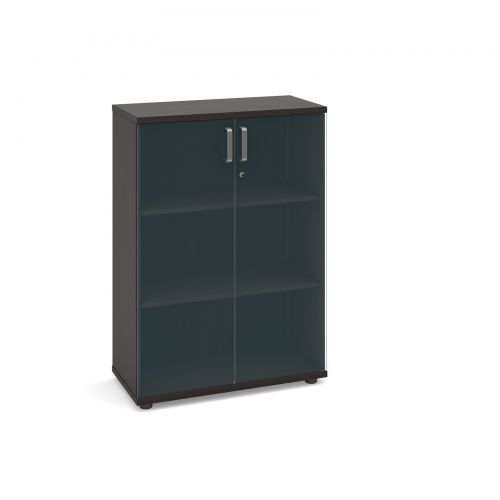 Magnum low cupboard with glass doors 1130mm high - dark oak
