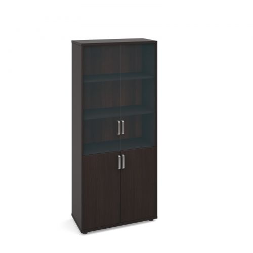 Magnum combination unit with glass upper doors 1840mm high - dark oak