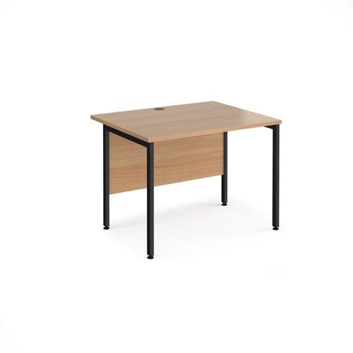Maestro 25 straight desk 1000mm x 800mm - black H-frame leg and beech top