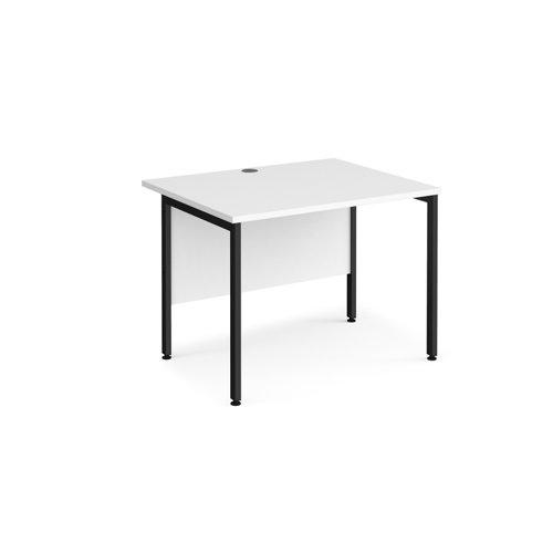 Maestro 25 straight desk 1000mm x 800mm - black H-frame leg and white top
