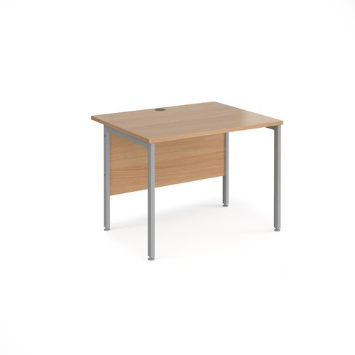 Maestro 25 straight desk 1000mm x 800mm - silver H-frame leg and beech top