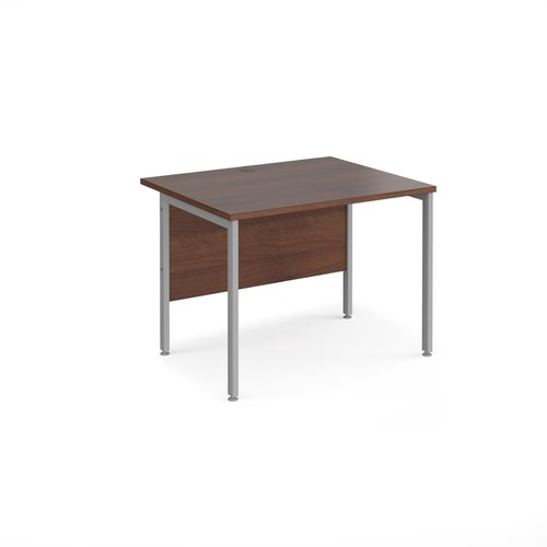 Maestro 25 straight desk 1000mm x 800mm - silver H-frame leg and walnut top