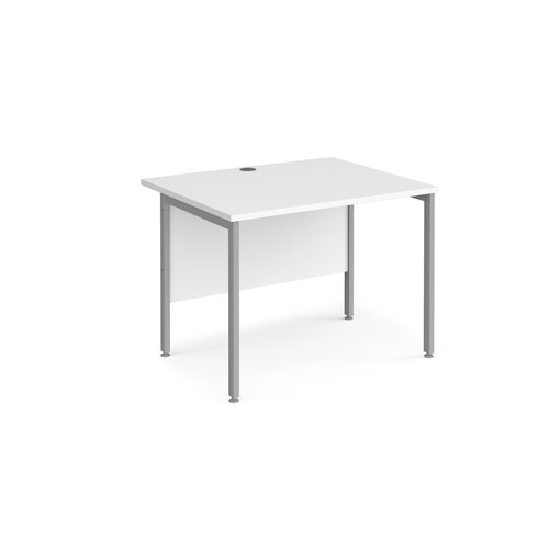 Maestro 25 straight desk 1000mm x 800mm - silver H-frame leg and white top