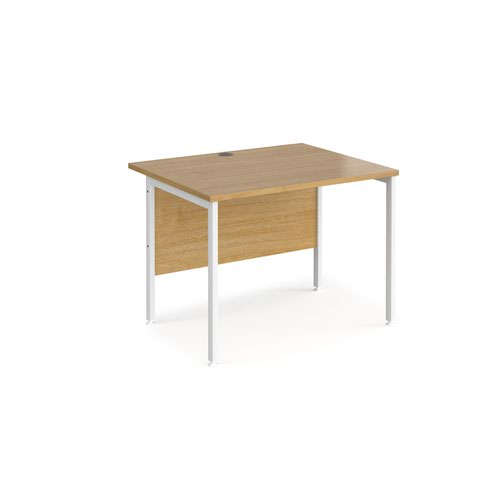 Maestro 25 straight desk 1000mm x 800mm - white H-frame leg and oak top