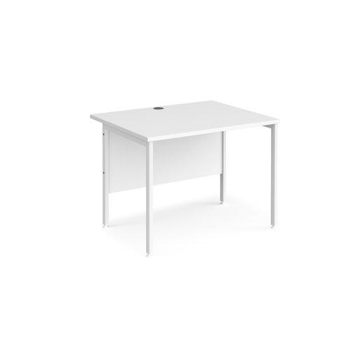 Maestro 25 straight desk 1000mm x 800mm - white H-frame leg and white top