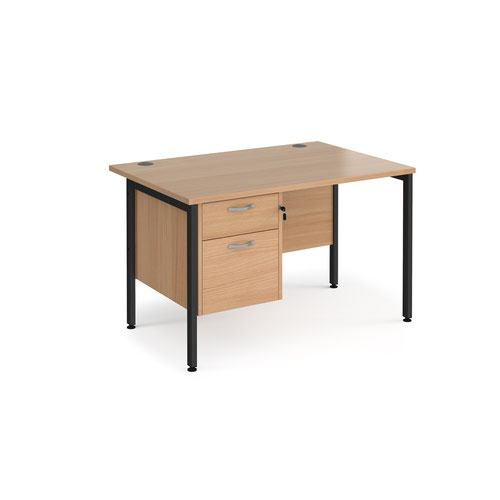 Maestro 25 straight desk 1200mm x 800mm with 2 drawer pedestal - black H-frame leg and beech top