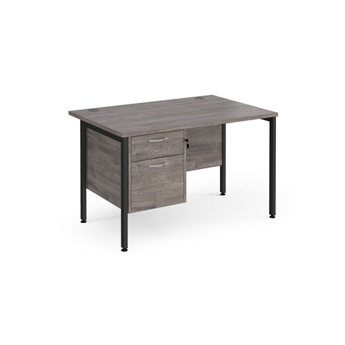 Maestro 25 straight desk 1200mm x 800mm with 2 drawer pedestal - black H-frame leg and grey oak top