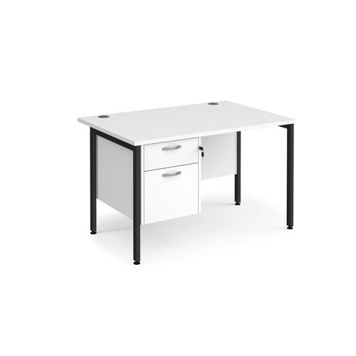 Maestro 25 straight desk 1200mm x 800mm with 2 drawer pedestal - black H-frame leg and white top