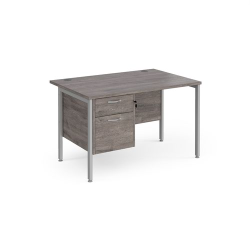 Maestro 25 straight desk 1200mm x 800mm with 2 drawer pedestal - silver H-frame leg and grey oak top