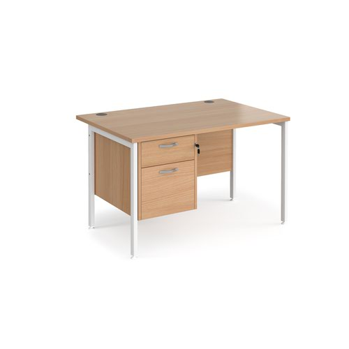Maestro 25 straight desk 1200mm x 800mm with 2 drawer pedestal - white H-frame leg and beech top