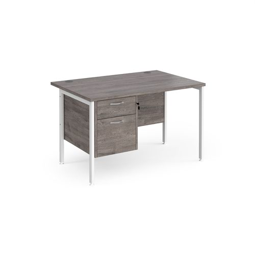 Maestro 25 straight desk 1200mm x 800mm with 2 drawer pedestal - white H-frame leg and grey oak top