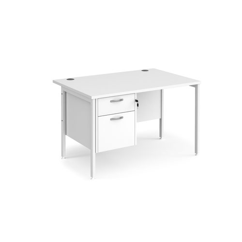 Maestro 25 straight desk 1200mm x 800mm with 2 drawer pedestal - white H-frame leg and white top