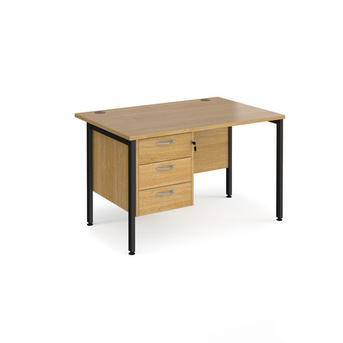 Maestro 25 straight desk 1200mm x 800mm with 3 drawer pedestal - black H-frame leg and oak top