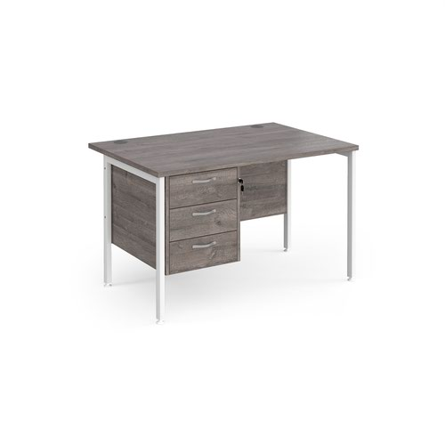 Maestro 25 straight desk 1200mm x 800mm with 3 drawer pedestal - white H-frame leg and grey oak top