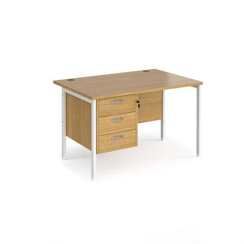 Maestro 25 straight desk 1200mm x 800mm with 3 drawer pedestal - white H-frame leg and oak top