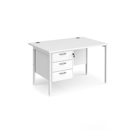 Maestro 25 straight desk 1200mm x 800mm with 3 drawer pedestal - white H-frame leg and white top