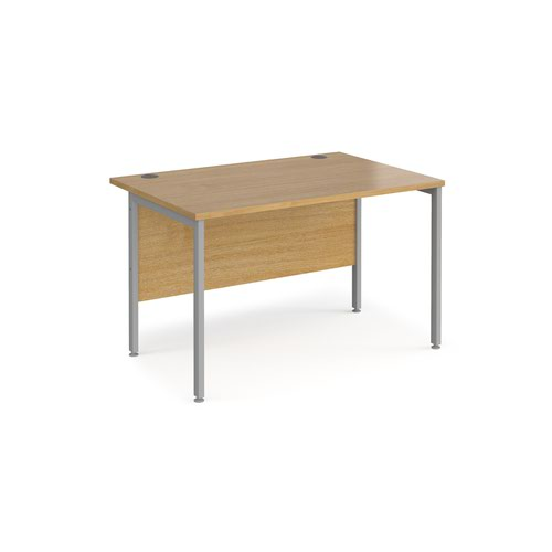 Maestro 25 straight desk 1200mm x 800mm - silver H-frame leg and oak top
