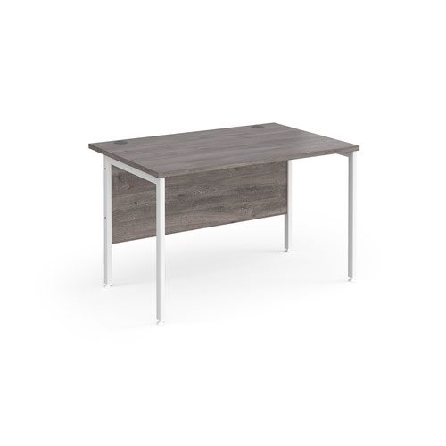 Maestro 25 straight desk 1200mm x 800mm - white H-frame leg and grey oak top
