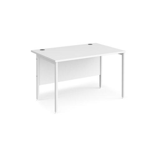Maestro 25 straight desk 1200mm x 800mm - white H-frame leg and white top