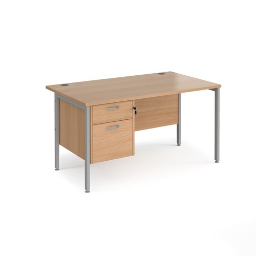 Maestro 25 straight desk 1400mm x 800mm with 2 drawer pedestal - silver H-frame leg and beech top