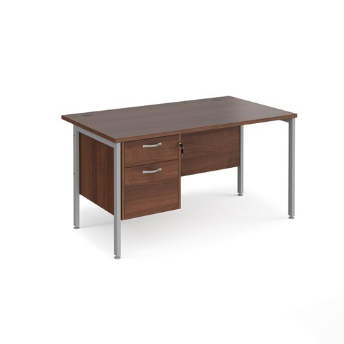 Maestro 25 straight desk 1400mm x 800mm with 2 drawer pedestal - silver H-frame leg and walnut top