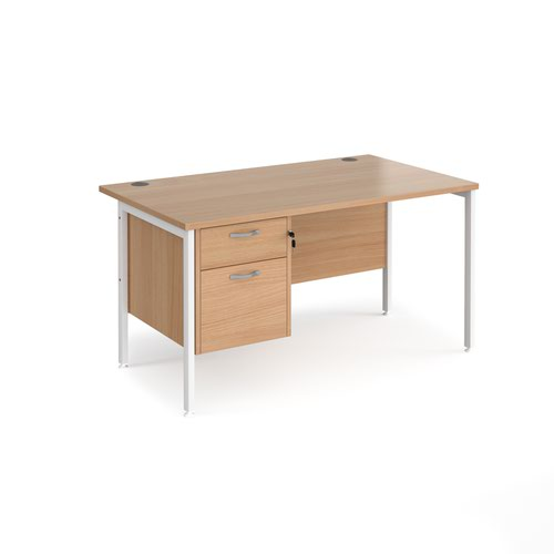 Maestro 25 straight desk 1400mm x 800mm with 2 drawer pedestal - white H-frame leg and beech top